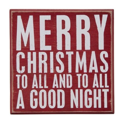 Primitives by Kathy Square Box Sign, 6-Inch, Merry Christmas