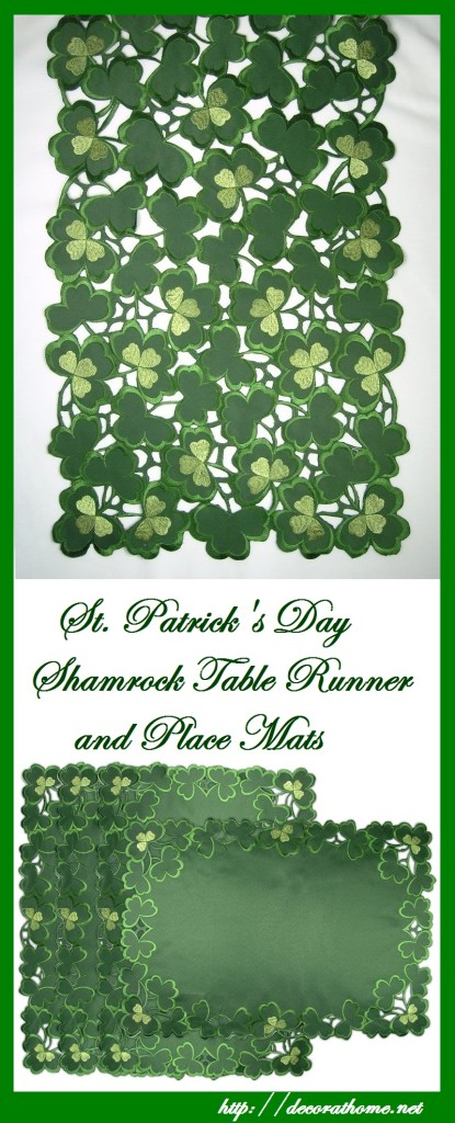 St. Patrick's Day Shamrock Table Runner and Place Mats | Decor at Home