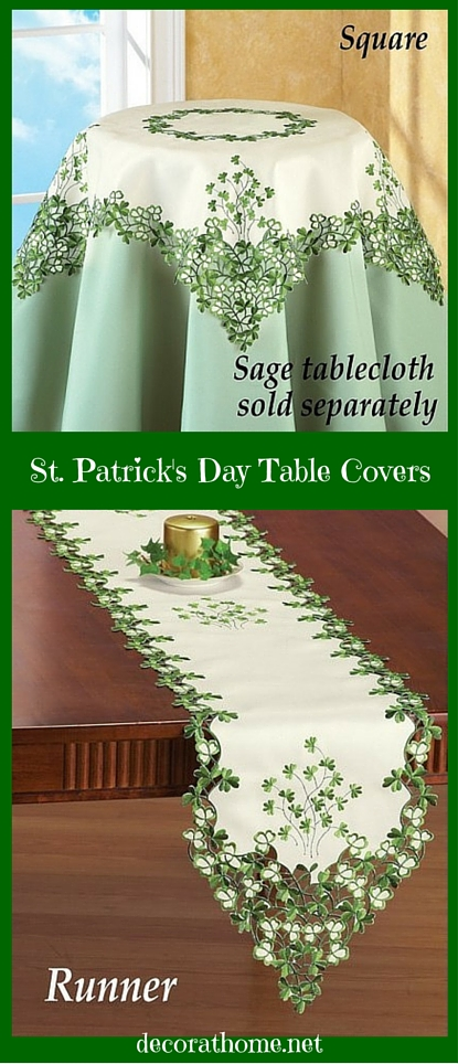Embroidered St. Patricks Day Irish Table Covers