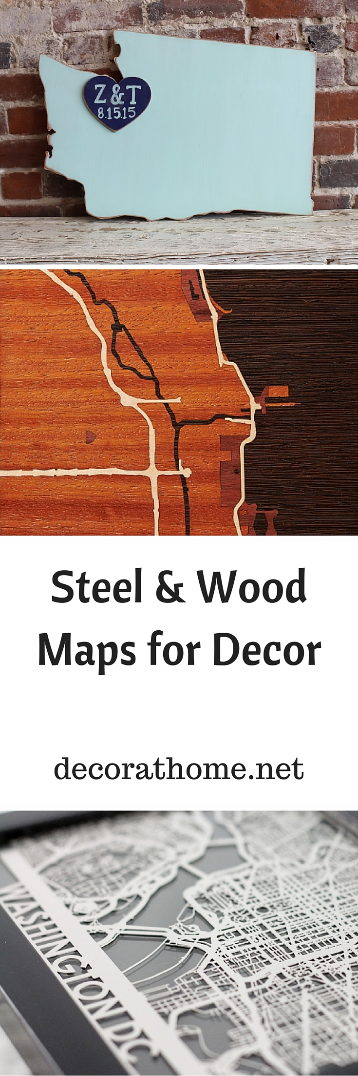 Steel & Wood Maps for Decor