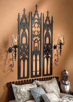 Gothic Cathedral Triptych Metal Wall Sculpture